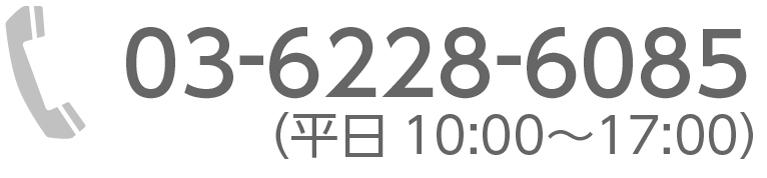 03-6228-6085(平日10:00〜17:00)